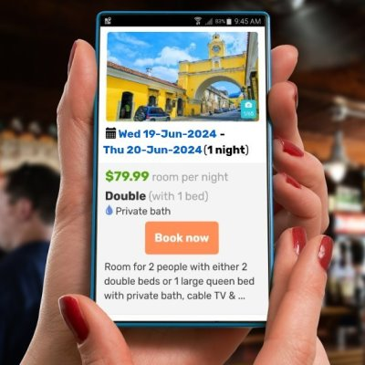 Hotel reservation engine for mobile devices